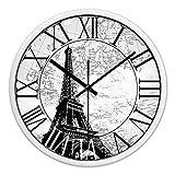Orologio da parete europea silenzioso epoca in numeri romani Design France Paris Eiffel Torre dell'orologio ( Color : White 12 in )