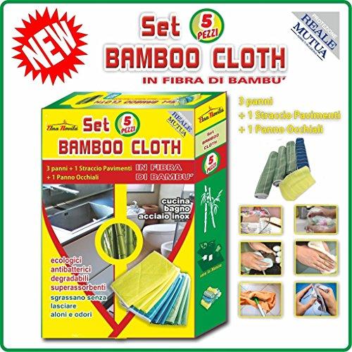 Set Bamboo Cloth 5 PEZZI 3 Panni + 1 Straccio