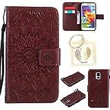 für Samsung Galaxy S5 / S5 Neo Geprägte Muster Handy PU Leder Silikon Schutzhülle Handy case Book Style Portemonnaie Design für Samsung Galaxy S5 (i9600) + Schlüsselanhänger(/*17) (8)