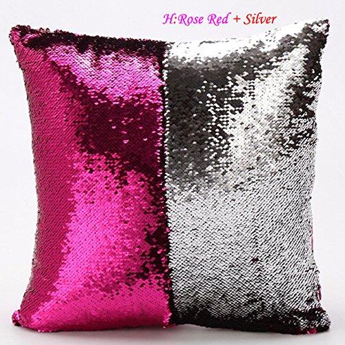 Pailettes zhuotop colorate vogue doppio colore lustrini sirena divano cuscino federa reversibile rose red + silver