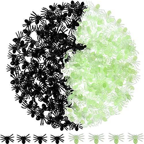 200 Piezas de Arañas Negras de Halloween Arañas de Plástico Favores de Fiesta para Decoraciones de Halloween (Fluorescente y Negro)