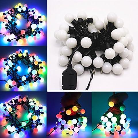 EJBOTH 5m Stringa della palla bianca luminosa RGB LED, Ghirlanda luminosa RGB fata 50 LED Catene luminose di sfera piccola decorazione di Natale Festa Sera Nozze Anniversario Casa Ristorante Giardino Bar Albero di Natale AC220V [RGB]