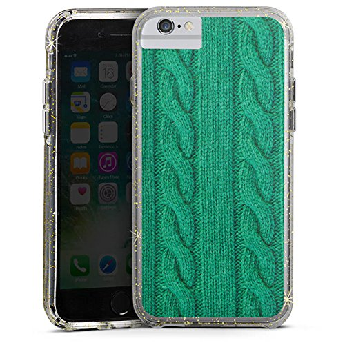 Apple iPhone 7 Plus Bumper Hülle Bumper Case Glitzer Hülle Wolle Look Strick Green Bumper Case Glitzer gold