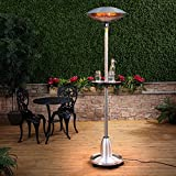 Floor Standing Halogen Electric Patio Heater with Table - 2.1m High Stainless Steel