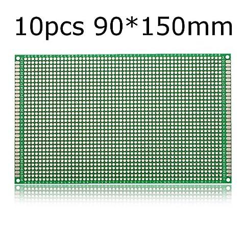 Bluelover 10Pcs 90 * 150Mm Fr-4 Carte À Circuit Imprimé À Double Face Pcb Imprimé