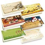 TATMOTIVE PREMIUM Weihnachtskarten 6-er Set = 6 x 1 Klappkarten DIN lang 235g/qm + Einlegeblatt 90g/qm + Umschlag