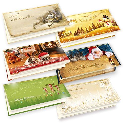TATMOTIVE Weihnachtskarten 6-er Set = 6 x 1 Klappkarten DIN lang 235g/qm + Einlegeblatt 90g/qm + Umschlag