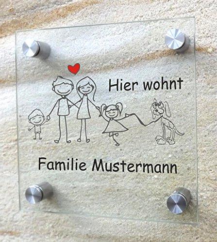Wohnungsschild - Familie mit Haustier - Individuell Klingelschild Namensschild Türschild Schild