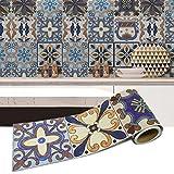 Per Pegatinas Decorativos Pared Adhesivos de Azulejos de Baño Resiste Agua Papel Pintado Pared Decorativo 20x500cm (A:001)