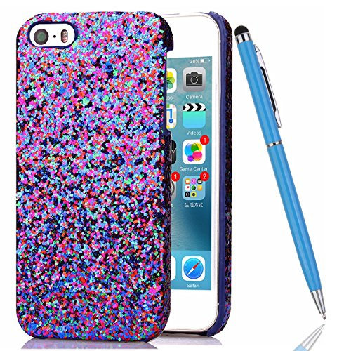 iPhone 5S Coque,iPhone SE Silicone Coque,iPhone 5 Housse - Felfy Glitter Etui Housse Placage Coque en Silicone Ultra-Mince Etui Soft Housse Plating Case Slim Gel Cover, Felfy Etui de Protection Cas Ul bleu luxe