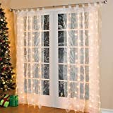 Colleer 300 Led Warm White Curtain Fairy String Lights Novelty Lamp Bulb Strips Rope Lights for Christmas Xmas Wedding Party Home Indoor Outside Garden Patio Window Decorations