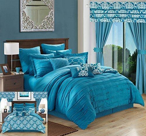 Chic Home 24Stück Hailee komplett Plissee Rüschen und beidseitig Bedruckt Bett in Einem Beutel Tröster Set mit Fenster Behandlung, King, Blaugrün (24 Stück Tröster Set)