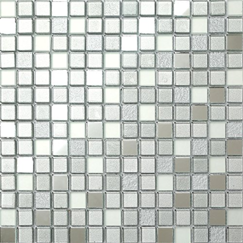 30cm x 30cm Silver Mirror Frosted Glitter Mix Glass Mosaic Tiles Sheet (MT0046)