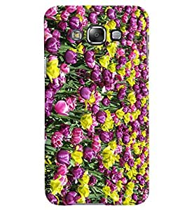 Omnam Purple Tulip Flowers Valley Printed Designer Back Case Samsung Galaxy E5