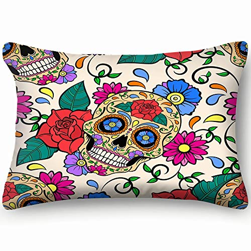 d Sugar Skulls Roses Abstract Skull Abstract Skull Skin Cool Super Soft and Luxury Pillow Cases Covers Sofa Bed Throw Pillow Cover with Envelope Closure 20 * 30 inch ()