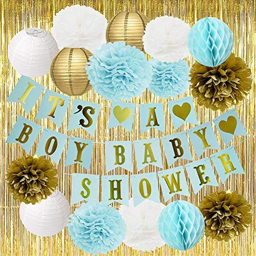 er Dekorationen für Jungen Blue Baby Shower Es ist EIN Junge Papier Blumen Papier Laternen Goldfolie Vorhang Blau / Weiß / Gold Baby Shower Party Dekorationen für Jungen ()