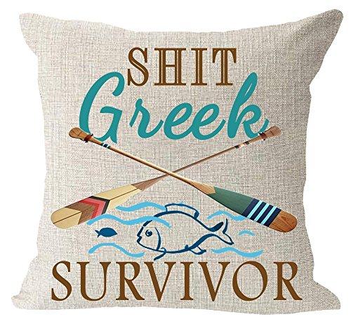 EUEI Retro Wooden Saying Shit Greek Survivor Paddle Wave Ocean Fish Cotton Linen Square Throw Waist Pillow Case Decorative Cushion Cover Pillowcase Sofa 18