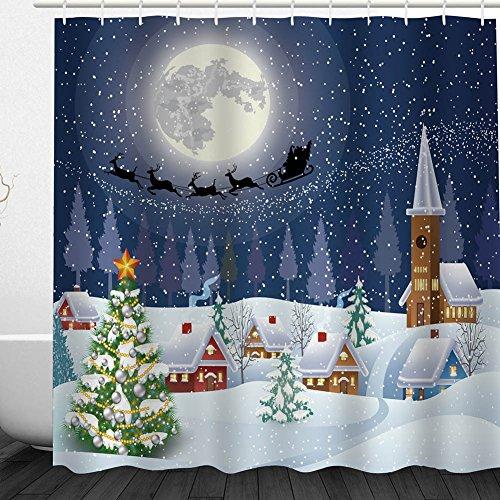 om Merry Christmas Santa Claus Duschvorhang Badezimmer Zubehör, Cartoon Lachen Santa Bad Vorhang, Polyester Stoff-Set mit Haken, Rot Snowy Christmas Eve ()