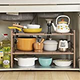 Home & Style Verstellbare ausziehbare Mehrzweck-Küche Badezimmer unter der Spüle Regal Regal Organizer Lagerung Tidy - Braun
