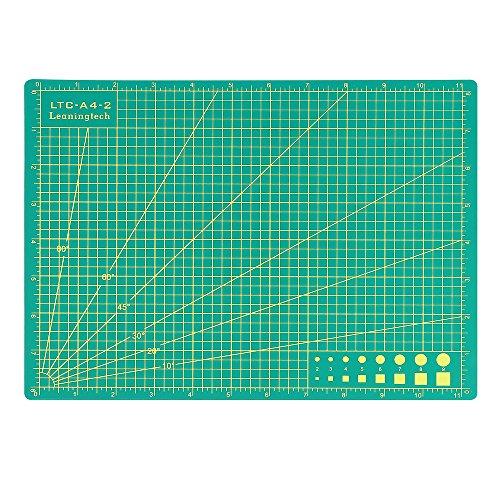 """LeaningTech LTC® A4 (11"""" x 8"""") Schneidematte Schneideunterlage PVC Selbstheilender Oberfläche,5 Schichten, doppelseitig 3,0mm Stärke, Anti-Rutsch Grün"""