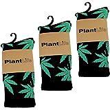 plantlife 3x Calzini unisex modello marijuana in dimensione universale colori 3x nero/verde