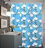 HM&DX Wasserdichter duschvorhang mit Ringe, Antischimmel Singt Badvorhänge Blumen für Bad Hotel-Blau 200x240cm(79x94inch)