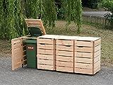 binnen-markt 4er Mülltonnenbox/Mülltonnenverkleidung 240 L Holz, Douglasie Natur
