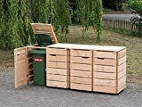 4er Mülltonnenbox / Mülltonnenverkleidung 120 L Holz, Douglasie Natur