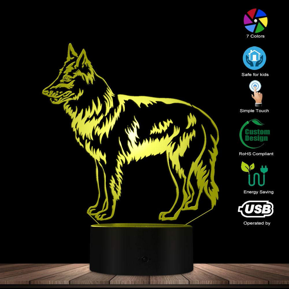 ENLAZY Shepherd Sheepdog 3D Optical illusion Lamp Belgian Black Shepherd USB Powered 7 Color Changing Lights Home Decorative Nursery Decor Dog Lovers Gift
