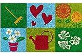 matches21 Fußmatte Fußabstreifer Kokos Motiv Garden Dream 45x75x1,5 cm Rutschfeste Rückseite Kokosmatte
