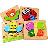 Afufu Träpussel för småbarn 1 2 3 år gammal, pojkar och flickor pedagogiska Montessori lärande leksaker gåva med 4 djurmönste