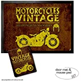 Set: 1 Fußmatte Türmatte (70x50 cm) + 1 Mauspad (23x19 cm) - Motorradsport, Vintage Motorcycles Service and Repair
