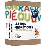 """Coffret Lettres magnétiques: 86 lettres, diagrammes et images en bois aimantés et 1 livret """"Une entrée naturellle dans la lec"""