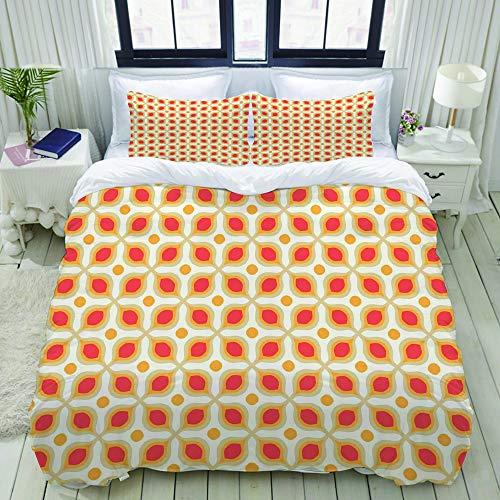 LIASDIVA Bettwäsche-Set, Mikrofaser,Verknüpfte mutige geometrische Formen 70er Jahre Vintage minimalistische Muster böhmischen Design,1 Bettbezug 135 x 200cm+ 2 Kopfkissenbezug 80x80cm