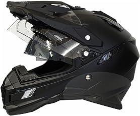 Motorradhelm MX Enduro Quad Helm matt schwarz mit Visier und Sonnenblende Gr. M