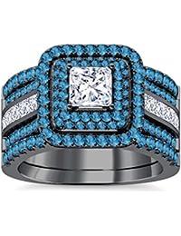 Silvernshine Enhancer Ring Guard & Engagement Ring Set Black Gold Plated Aquamarine Sim Diamonds