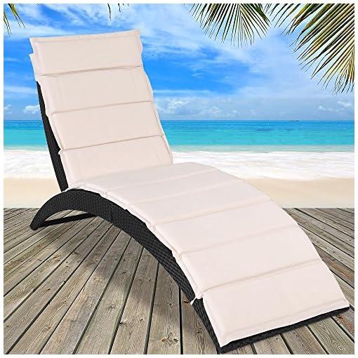 Deuba Lettino prendisole in polyrattan sdraio pieghevole con cuscino piscina giardino terrazza esterno spiaggia
