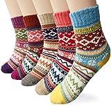 LORITTA de la mujer 5pares Estilo Vintage tejer invierno caliente calcetines de lana - WZ-OF0002, Talla única, A-wave