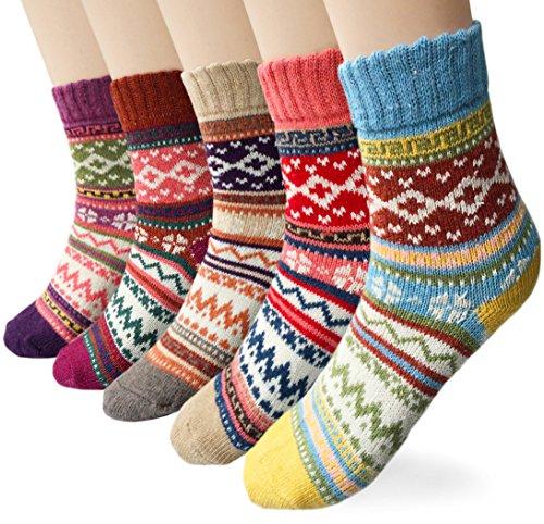 6c5c07a51 Loritta Women's 5 Pairs Vintage Style Winter Knitting Warm Wool Crew Socks