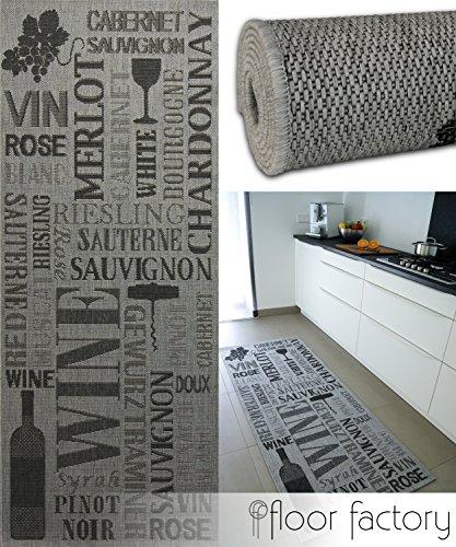 floor factory Alfombra de cocina Pinot Grigio gris 80x200 cm - alfombr