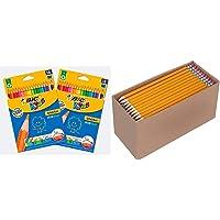 BIC 962701 Lot de 36 Crayons de Couleur & Amazon Basics Boîte de 150 crayons à papier prétaillés HB n°2