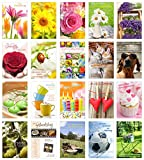 Set 20 Geburtstagskarten Glückwunschkarten zum Geburtstag mit Umschlag. Grusskarte Geburtstagskarte