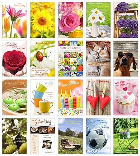Set 20 Geburtstagskarten Glückwunschkarten zum Geburtstag mit Umschlag. Grusskarte Geburtstagskarte Happy Birthday Mann Frau (Doppelkarten/Klappkarten mit Briefumschlag)