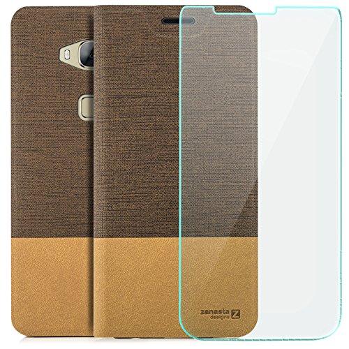 zanasta Tasche kompatibel mit Huawei GX8 (G8) [RIO-L01]   Hülle + Displayschutzglas [ Schutzfolie aus gehärtetem Glas ] Flip Case Slim Schutzhülle Handytasche mit Kartenfach, Standfunktion  Hellbraun