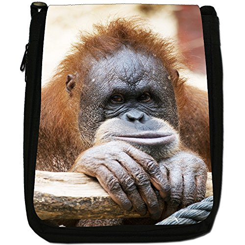 Orangutan Scimmia primati animali Medium Nero Borsa In Tela, taglia M Baby Bornean Orangutan