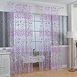 Kasit Flower Tulle Voile Door Window Curtain Pink Drape Panel Sheer Scarf Valances For Bedroom Bathroom Living Room Children's Room - Purple