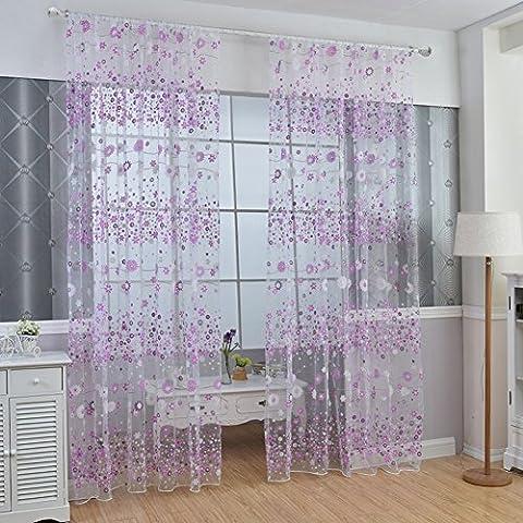 Kasit Blumen Tüll Voile Tür Fenster Vorhang Rosa Drapieren Tafel Sheer Schal Valances Für Schlafzimmer Badezimmer Wohnzimmer Kinderzimmer - Lila