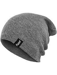 Bonnet Gris Clair TRUE VISION - Slouch Beanie - Doux & Confortable – Taille Unique – Tricoté en Acrylique – Maintient au Chaud l'Hiver – Unisexe – Convient pour Hommes & Femmes