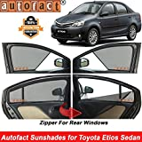Autofact Half Magnetic Window Sunshades/Curtains for Toyota Etios [Set of 4pc - Front 2pc Half Without Zipper ; Rear 2pc Full with Zipper] (Black)