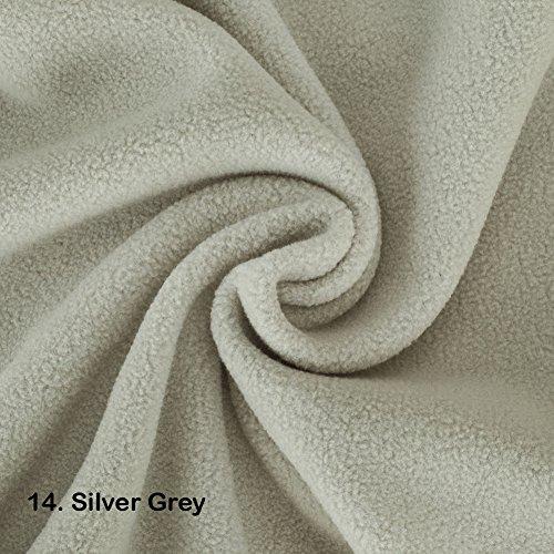 Polar-Fleece-Stoff, 2 m, Vegan Alternative zu Wolle International zugelassenen Test auf! Anti Pille fertig stellen. 21 Farben, schöne Plüsch Flor für Kleidung, Handarbeiten, home décor, Polyester, 14. Silver Grey, ½ Metre (21 Rib)